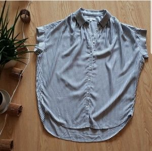Madewell striped button up top!